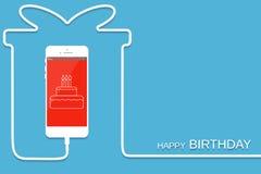 Vit telefon som laddar i stilgåva Överraskning Smartphone med linjen tråd Närvarande mobiltelefon, kakascr stock illustrationer
