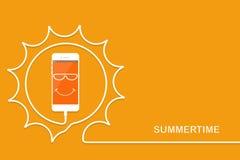 Vit telefon som laddar, rolig sol Sommartid Smartphone, linje tråd Hälsningmobiltelefon med framsidan som sjungas stock illustrationer