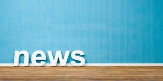 vit text Shape för nyheterna 3D på brunt trägolv mot den blåa väggen med Copyspace - illustration 3D Fotografering för Bildbyråer