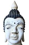 Vit thai buddha staty av huvudet Arkivfoto