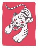 Vit tiger på röd dragen illustration för bakgrund hand Royaltyfri Foto