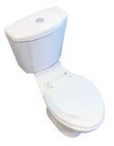 Vit toalettbunke över vit backround Fotografering för Bildbyråer