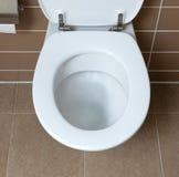 Vit toalettbunke i badrummet som spolar Royaltyfria Bilder