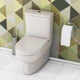 Vit toalettbunke med toalettpapper och den metalliska toalettborsten in Arkivbild