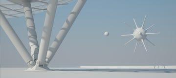 Vit tolkning för inredesign 3D Arkivbilder