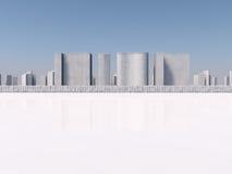 Vit tolkning för skyscapers 3d Arkivfoto
