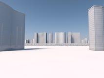 Vit tolkning för skyscapers 3d Royaltyfria Foton