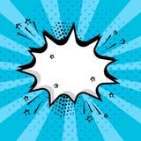 Vit tom anförandebubbla med stjärnor och prickar på blå bakgrund Komiska solida effekter i stil för popkonst också vektor för cor stock illustrationer