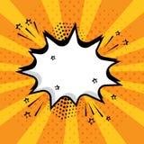 Vit tom anförandebubbla med stjärnor och prickar på orange bakgrund Komiska solida effekter i stil för popkonst också vektor för  stock illustrationer