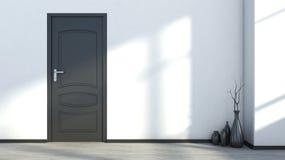 Vit tom inre med en svart dörr och vas Royaltyfri Foto