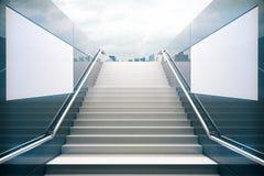 Vit trappa med tråkig himmel vektor illustrationer