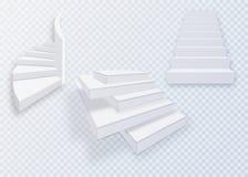 Vit trappa, trappuppgångar 3d Uppsättning som isoleras på genomskinlig bakgrund Arkivfoto