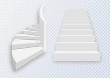 Vit trappa, trappuppgångar 3d Uppsättning som isoleras på genomskinlig bakgrund Royaltyfri Bild