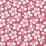 Vit tropisk exotisk lövverk, modell för blom- vektor för hibiskus sömlös Frodiga tropiska blom på röd bakgrund royaltyfri illustrationer
