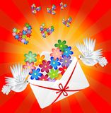 Vit två en duva är det burna kuvertet med en hjärta stock illustrationer