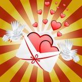 Vit två en duva är det burna kuvertet med hjärtor stock illustrationer