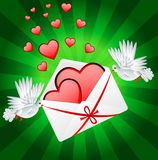 Vit två en duva är det burna kuvertet med hjärtor royaltyfri illustrationer