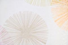 Vit tygtextur med den nominella blommamodellen Rextile bakgrund arkivfoto
