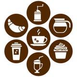 Vit uppsättning på brun bakgrund, symboler på kaffetemat, plan design, vektor vektor illustrationer