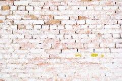 Vit vägg för forntida gammal tegelsten med mossa Tegelstentextur av den gamla väggen Arkivfoto