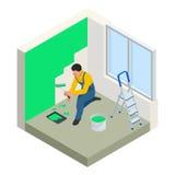 Vit vägg för isometrisk Paintroller målning med röd målarfärg för rulle Plan modern illustration för vektor 3d Paintroller folk Royaltyfria Foton