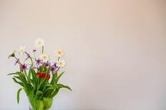 Vit vägg och en blom- garnering Royaltyfri Foto