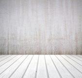Vit väggtexturbakgrund och trägolv Royaltyfri Fotografi