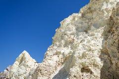 Vit vaggar mineraliskt bildande på Milos ön, Grekland Arkivbilder