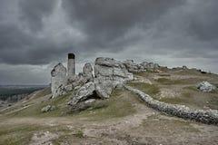 Vit vaggar och den fördärvade medeltida slotten Arkivfoton