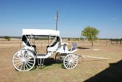 Vit vagn i ett fält arkivbild