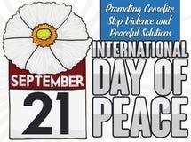 Vit vallmo, kalender och några rättesnören för dag av fred, vektorillustration Stock Illustrationer