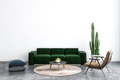 Vit vardagsrum, grön soffa royaltyfri illustrationer