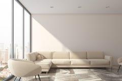 Vit vardagsrum, vit soffa stock illustrationer