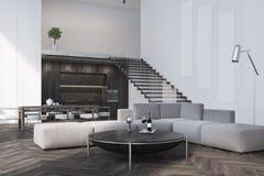 Vit vardagsrum-, soffa- och tabellsida stock illustrationer