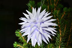 Vit vek papper av stjärnaform i julgran Royaltyfria Foton