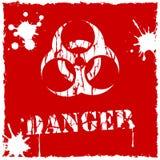 Vit vektorbiohazardsymbol som är röd och Arkivbild