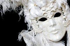 Vit Venetian karnevalmaskering Arkivfoto