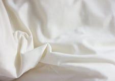 Vit viker försiktigt textilbakgrund Fotografering för Bildbyråer