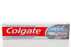 vit whitening colgate för max toothpaste royaltyfri foto