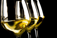 vit wine för exponeringsglas tre Arkivbilder