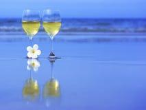 vit wine för exponeringsglas två Arkivbild