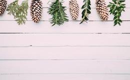 Vit wood jul gränsar med snö täckte pinecones arkivfoto