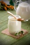 Vit yoghurt i den glass kruset arkivbilder