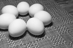 Vita ägg på en tabell Fotografering för Bildbyråer