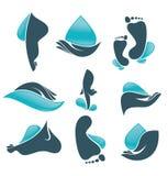 Vita in acqua, raccolta delle mani pulite delle donne e piede Immagini Stock Libere da Diritti