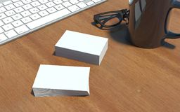 Vita affärskort på skrivbordet - tolkning 3d vektor illustrationer
