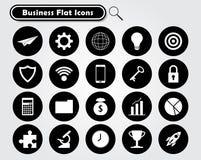 Vita affärslägenhetsymboler på svarta cirklar Arkivbild
