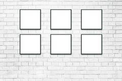 Vita affischer i svarta ramar förlöjligar upp stock illustrationer