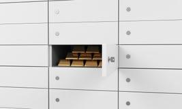 Vita askar för säker insättning i en bank Det finns guld- guldtackor inom av en en ask Ett begrepp av att lagra av viktig dokumen Arkivbild