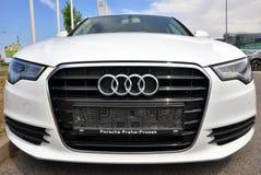 Vita Audi A6 Arkivfoto